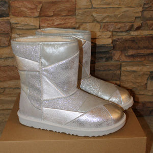 UGG PATCHWORK GIRL'S LEATHER BOOTS NEW! SILVER